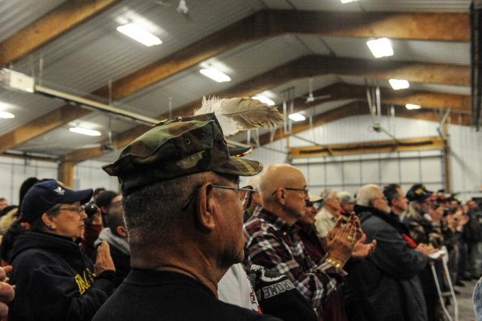 "Veterans attend a Sioux tribal welcome meeting at Sitting Bull College as ""water protectors"" continue to demonstrate against plans to pass the Dakota Access pipeline near the Standing Rock Indian Reservation, in Fort Yates, North Dakota, U.S."